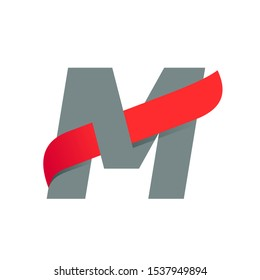 M letter logo with fast speed red wing. Typeface, vector design template elements for sport, race, aviation etc.