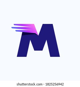 M letter logo with fast speed lines or wings. Corporate branding identity design template with vivid gradient. Can be used for delivery ads, technology poster, sport identity, etc.