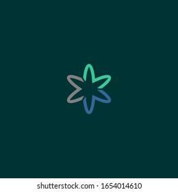 M letter logo gather star science