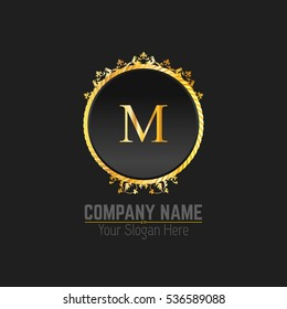 M Letter logo, Golden Monogram design elements, line art logo. Beautiful Boutique Logo Designs, Business sign, Restaurant, Royalty, Cafe, Hotel, Heraldic, Jewelry, Fashion, Wine. Vector illustration