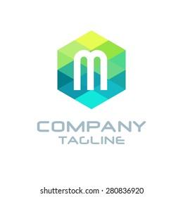 M Letter Logo Icon Hexagon Mosaic Pattern Design template Element - Creative Shape Polygonal logo design - Vector illustration