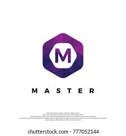 M Letter Logo Illustration Template. With Hexagonal shape. Polygonal style.