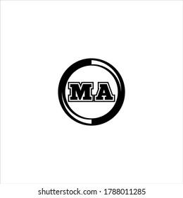 M A letter logo monochrome design