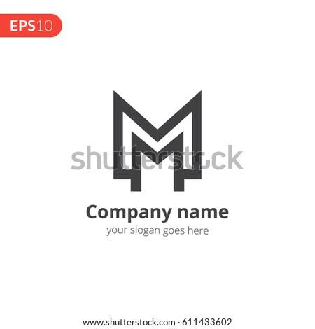 M M Letter Logo Monogram Vector Image Vectorielle De Stock Libre De