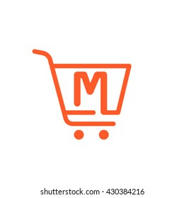M letter logo with Shopping cart icon. Vector design element for sale tag, card, corporate identity, label or poster.