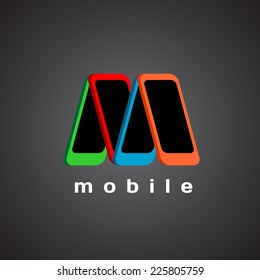 M letter logo template. Mobile devices store concept.