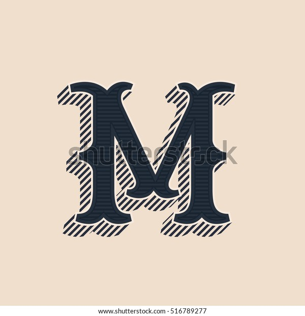 M Letter Logo Vintage Western Style Stock Vector (Royalty Free