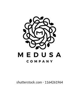 M letter medusa gorgona logo vector icon illustration