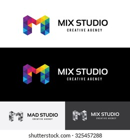M letter Mix Studio Geometric logo template