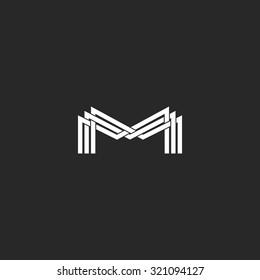 M letter monogram logo, black and white mockup business card or wedding invitation, geometric shape of three MMM intersection thin line