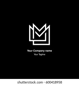 M letter monogram, negative space