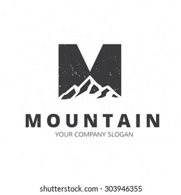 M letter, Mountain logo template