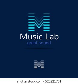M letter music logo template. Creative equalizer music studio brand sign. Vector music production logotype.