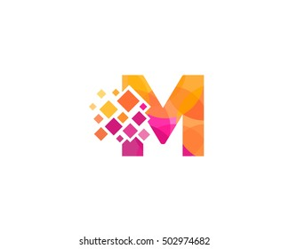 M Letter Pixel Multiply Colorful Logo Design Template