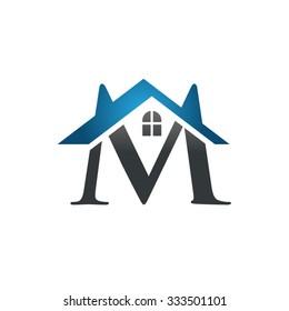M letter roof shape logo blue