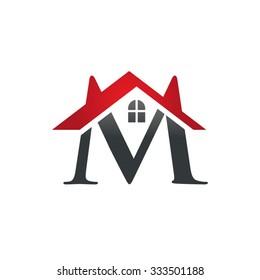M letter roof shape logo red