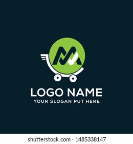 M Letter shop cart logo vector design template