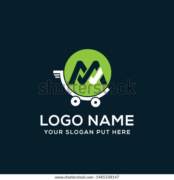 M Letter Shop Cart Logo Vector Stock Vector (Royalty Free