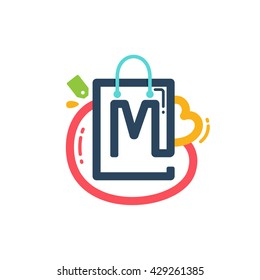 M letter with shopping bag and tag icon. Vector design element for tag, card, corporate identity, label or poster.