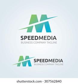 M letter, Speed Media Vector logo template