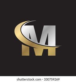 M letter swoosh golden logo