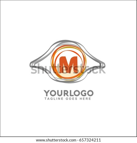 m letter with symbol of eye logo vector logo template