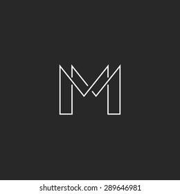 M letter thin line monogram logo, modern design for business card MM emblem