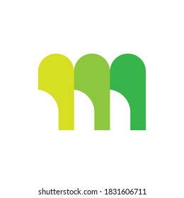 M letter with triple blade logo design vector