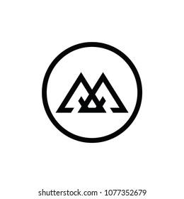 m letter vector logo. aa letter vector logo. mountain vector logo