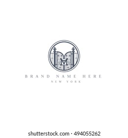 M letter vintage fence vector logo design template. Vintage Luxury Gate Logo