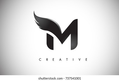 M Letter Wings Logo Design Icon. Flying Wing Letter Logo with Creative Black Wing Concept.