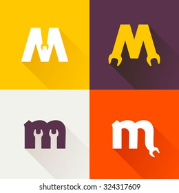 M letter with wrench logo set. Vector repair design template elements for your application or corporate identity.