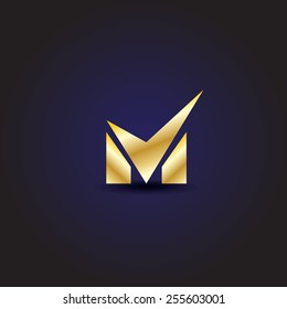 M Lettering - Isolated On Blue Background - Vector Illustration, Graphic Design, Editable For Your Design
