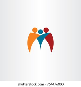m logo business people team friends logotype vector
