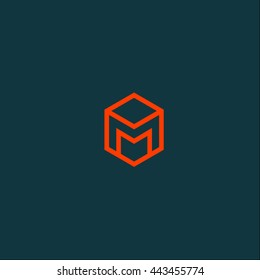 M logo in hexagon. M monogram. M letter
