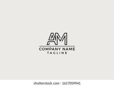 A M AM Logo Letter Icon Creative Minimal Design with Black and White Color in Vector Editable File.