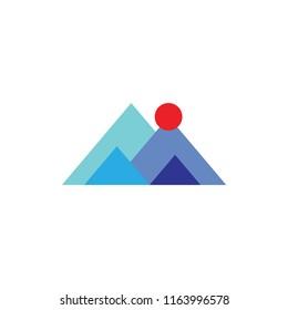 M logo letter , mountain, sun logo design