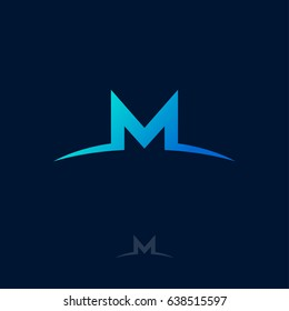 M logo. M monogram. Blue letter M on a dark background.