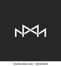 M logo monogram, two or three overlapping thin line letters, black and white mockup wedding invitation emblem