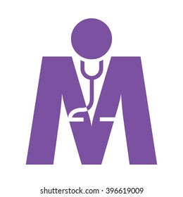 m logo vector for health care company.
