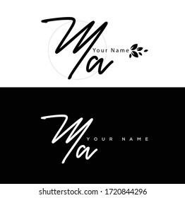 M A MA Initial letter handwriting and signature logo.