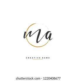 M A MA Initial logo template vector