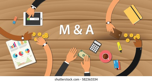 m & a merger and acquisition illustration with team working on wooden table view from top with money gold coin paper work graph chart