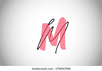 M MM alphabet logo icon. Two types of letter design for company and business corporate identity in pink and black color