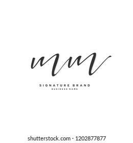 M M MM Initial letter handwriting and  signature logo concept design