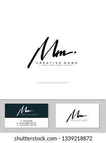 M MM initial logo signature template vector. Handwriting concept logo.