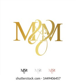 M & M / MM logo initial vector mark. Rose gold. gold. silver color.