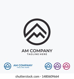 A M Mountain Letter Icon Logo Design Template Inspiration for Your Business Company. Geometic Element Web. Vector Eps10 Editable