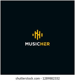 M music abstract logo