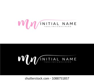M N Initial handwriting logo vector. Hand lettering for designs.